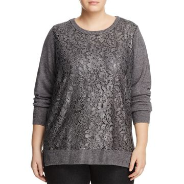 Foxcroft Women's Plus Lace Front Knitted Sweater