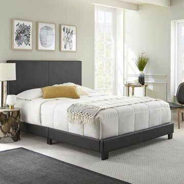 Premier Sutton Upholstered Faux Leather Platform Bed Frame, Twin, Black