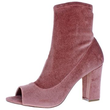 Madden Girl Womens Blockie Faux Suede Open Toe Booties
