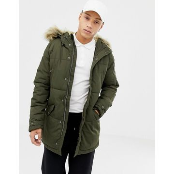 Schott lincoln 18x quilted hooded parka jacket detachable faux fur trim slim fit in green