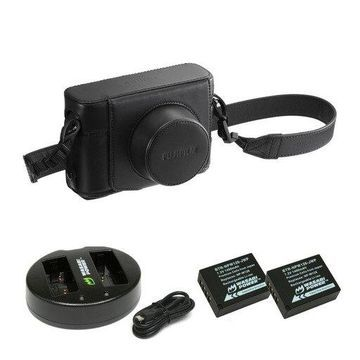 Fujifilm X100F Leather Case (Black) with Battery (2-Pack) and Dual Charger