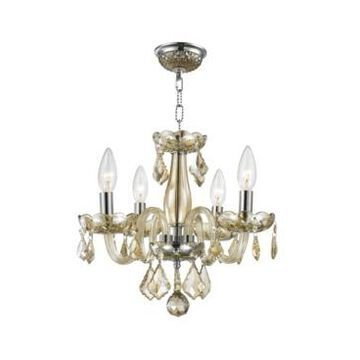 Worldwide Lighting Clarion 4-Light Chrome Finish and Crystal Chandelier