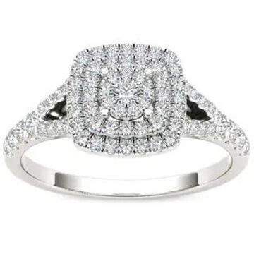 De Couer IGI Certified 10k White Gold 1/2ct TDW Diamond Cushion Shape Double Halo Engagement Ring (7 - White)