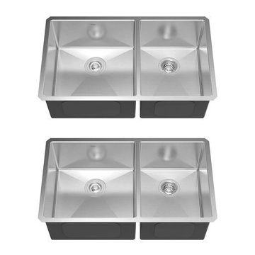 Kraus 33 Inch Undermount 60/40 Double Stainless Steel Kitchen Sink (2 Pack)