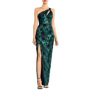Aidan Mattox Metallic Jacquard One-Shoulder Gown