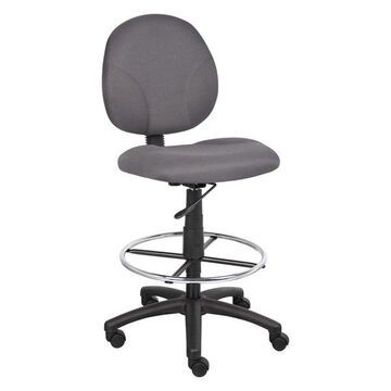 Boss Fabric Drafting Stools With Footring, Gray