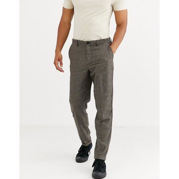 Selected Homme regular fit wool mix pants in brown puppy tooth