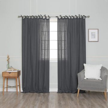 Aurora Home French Linen Tie Top (150 GSM) Single Curtain Panel