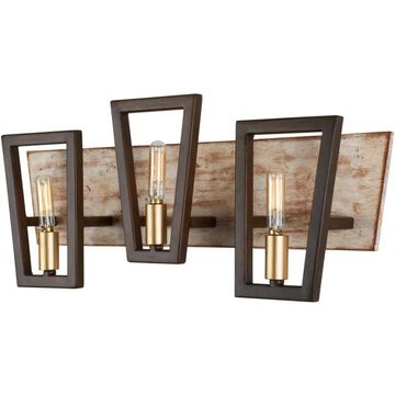 "Varaluz 260B03 Zag 21"" Bathroom Light with Reclaimed Wood and Recycled Steel Dark Oak / Whitewash Indoor Lighting Bathroom Fixtures Vanity Light"
