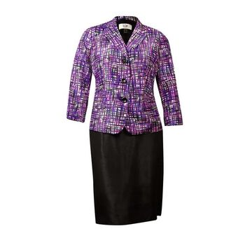 Le Suit Women's Quebec Plaid-Print Shantung Skirt Suit