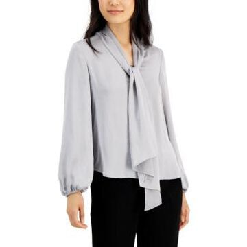Bar Iii Tie Neck Cinched Sleeve Blouse, Created for Macy's