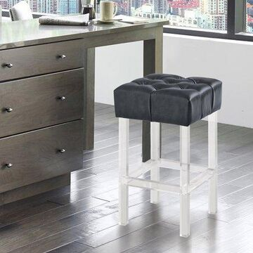 """Armen Living Kara Contemporary 26"""" Counter Height Barstool in Grey Faux Leather with Acrylic Legs"""