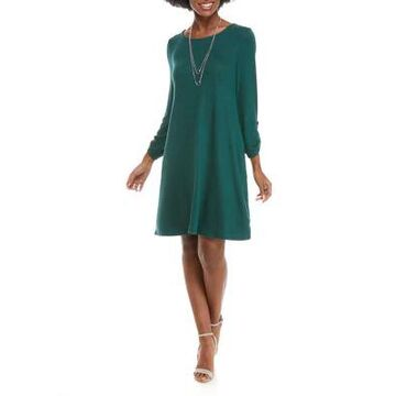 Agb Women's Solid Necklace Dress -