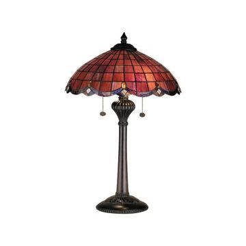 Meyda Tiffany 78123 Vintage Stained Glass / Tiffany Table Lamp - Black