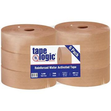 Tape Logic #7500 Reinforced Water Activated Tape, 3 x 900, Kraft, 6/Case (T9097500) | Quill