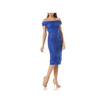 Carmen Marc Valvo Womens Cocktail Dress Embellished Off-the-Shoulder