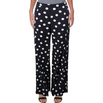 Three Dots Womens Wide Leg Pants Polka Dot Casual - 0