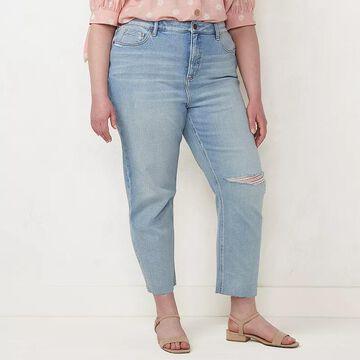 Plus Size LC Lauren Conrad Super-High Rise Distressed Jeans, Women's, Size: 26 W, Light Blue