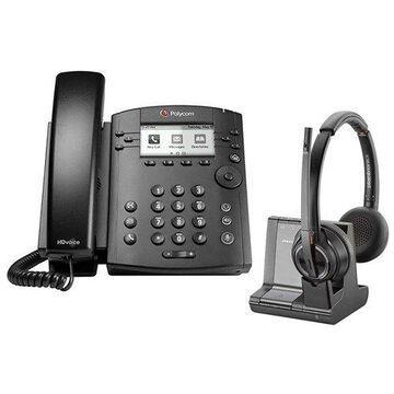 Polycom VVX 301 Corded Voice Over IP Phone with Savi W8220 Wireless Headset