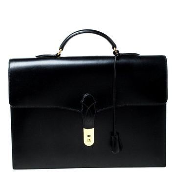 Hermes Black Leather Sac a Depeches 38 Briefcase