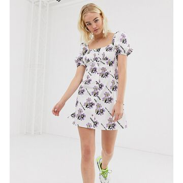 Reclaimed Vintage inspired button tea dress in logo floral print-White