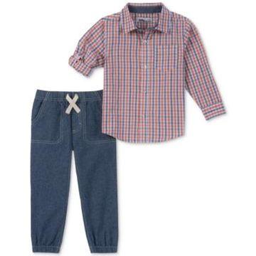Kids Headquarters Toddler Boys 2-Pc. Plaid Woven Shirt & Jogger Pants Set