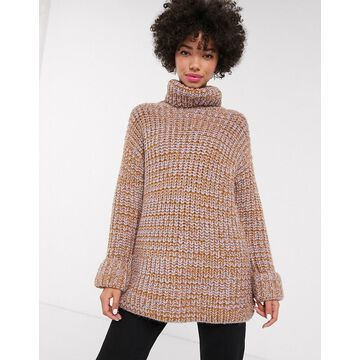 Monki ribbed roll neck sweater in multi