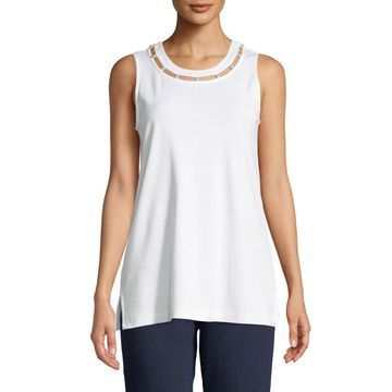 Plus Size Scoop-Neck Cotton Interlock Tank with Pearly Inset