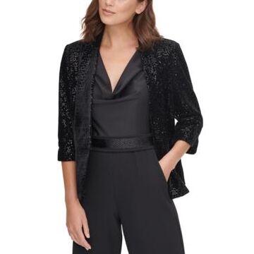 Eliza J Sequinned Velvet Jacket