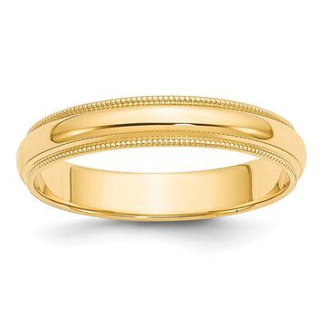 14K Yellow Gold 4mm Milgrain Half-Round Wedding Band by Versil
