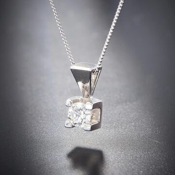 Divina 14KT White Gold 1/4ct TDW Certified Diamond Solitaire Pendant