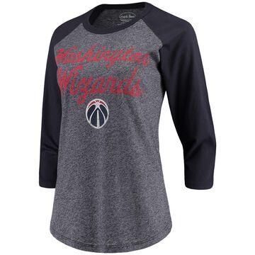 Women's Majestic Threads Heathered Navy/Navy Washington Wizards Double Dribble Raglan Tri-Blend 3/4-Sleeve T-Shirt