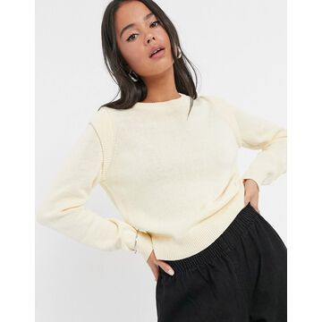 Noisy May knitted sweater with shoulder detail in cream