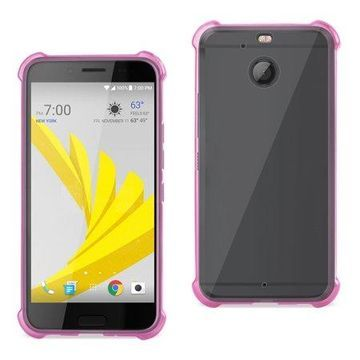 Htc Bolt Clear Bumper Case With Air Cushion Protection In Clear Hot Pink