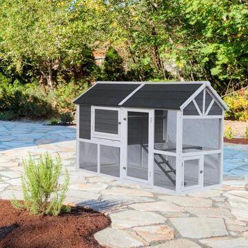 ALEKO Multi Level Chicken Coop Bunny Hutch Small Pet House (Black/White)