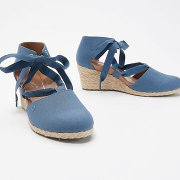 Vionic Tie Front Espadrille Wedges - Kaitlyn
