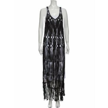 Printed Long Dress Black