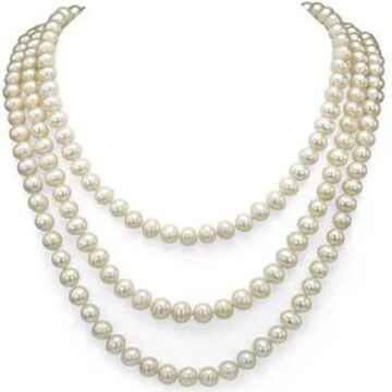 DaVonna 7-8mm White Freshwater Pearl Endless Necklace (100 Inch)