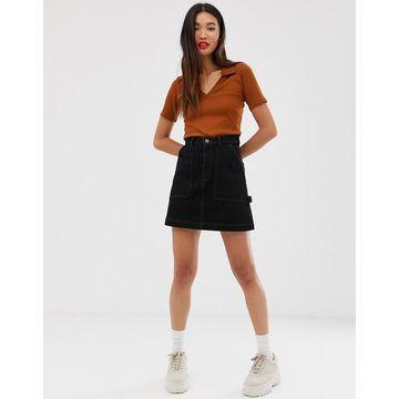 Monki organic cotton denim mini skirt in black