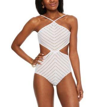 Bar Iii High-Neck Crochet Monokini Swimsuit, Created for Macy's Women's Swimsuit