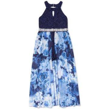 Speechless Big Girls Glitter-Lace Walk-Through Maxi Dress