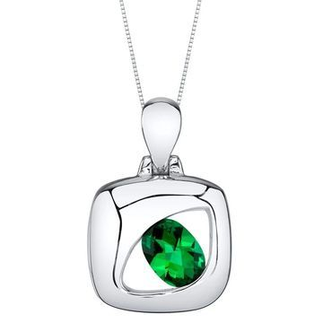 Oravo Simulated Emerald Sterling Silver Sculpted Pendant Necklace - Green
