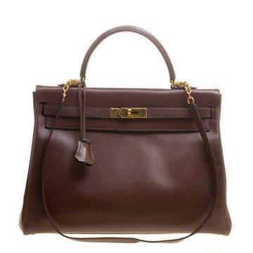 Hermes Prune Courchevel Leather Gold Hardware Kelly Retourne 35 Bag