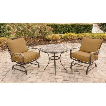 Hanover Outdoor Summer Nights 3-Piece Chat Set with Cast-Top Table and Steel-Frame Rockers, Desert Sunset