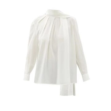 Alexander Mcqueen - Scarf-neck Silk-georgette Blouse - Womens - Ivory