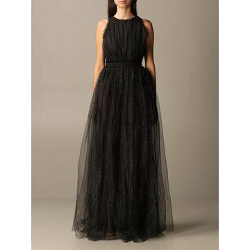 Elisabetta Franchi Long Dress In Lurex Tulle
