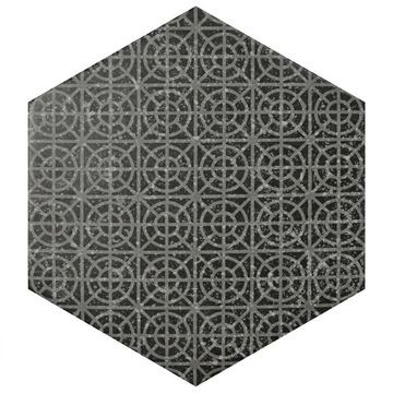 SomerTile 10x11.5-inch Moonstone Hexagon Melange Black Porcelain Floor and Wall Tile (18 tiles/11.37 sqft.) (CASE)