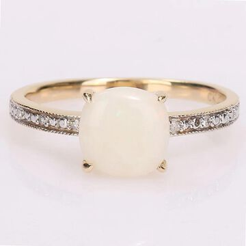 Miadora 10k Yellow Gold Cushion-cut Opal and Diamond Accent Solitaire Engagement Ring