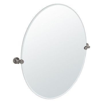 Gatco Channel Large Oval Beveled Tilting Wall Mirror in Satin Nickel
