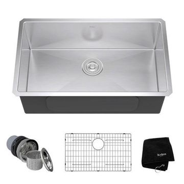 Kraus 30 Inch Rectangular Undermount Single Bowl Stainless Steel Kitchen Sink